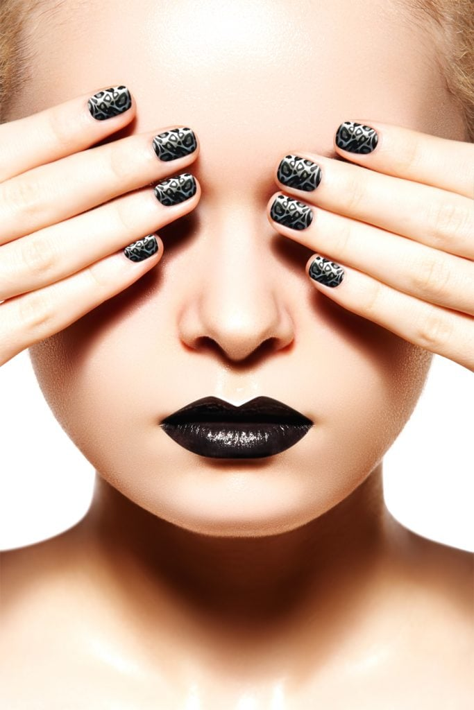 woman with black nails
